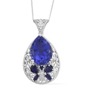 Playa Quartz, Multi Gemstone Platinum Over Sterling Silver Pendant With Chain (20 in) TGW 13.03 cts.