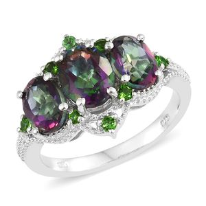 Northern Lights Mystic Topaz, Russian Diopside Platinum Over Sterling Silver Ring (Size 7.0) TGW 5.60 cts.