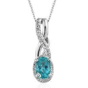 Paraiba Topaz, Cambodian Zircon Platinum Over Sterling Silver Pendant With Chain (20 in) TGW 0.97 cts.