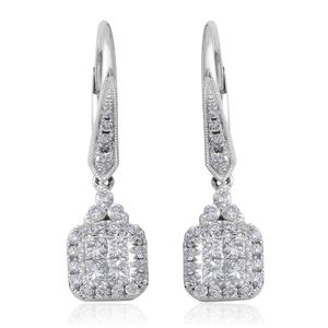 14K WG Diamond (G-HSI2) Dangle Earrings TDiaWt 1.00 cts, TGW 1.00 cts.