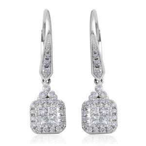 14K WG Diamond (G-HSI2) Dangle Earrings TDiaWt 1.00 cts, TGW 1.00 cts.