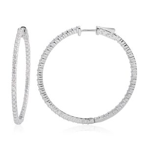 14K WG Diamond (G SI2) Hoop Earrings TDiaWt 3.00 cts, TGW 3.00 cts.