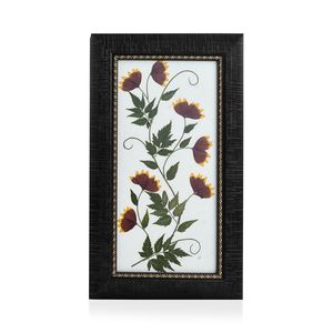 Handcrafted Multi Color Dry Aster Flower Petals and Neem Leaf Wooden Picture (7x12 in)