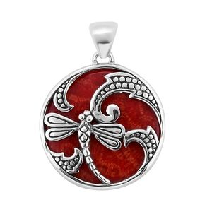 Bali Legacy Collection Sponge Coral Sterling Silver Dragonfly Pendant without Chain