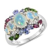 Ethiopian Welo Opal, Multi Gemstone Platinum Over Sterling Silver Ring (Size 5.0) TGW 3.93 cts.