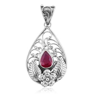 Bali Legacy Collection Niassa Ruby Sterling Silver Flower Pendant without Chain TGW 2.48 cts.