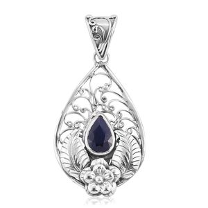 Bali Legacy Collection Kanchanaburi Blue Sapphire Sterling Silver Flower Pendant without Chain TGW 2.14 cts.