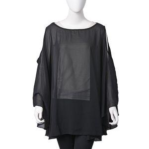 Black Off Shoulder Design Pattern 100% Polyester Summer Chiffon Poncho (30.71x55.91 in)