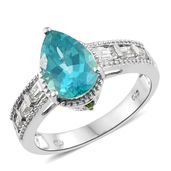 Paraiba Topaz, Multi Gemstone Platinum Over Sterling Silver Ring (Size 5.0) TGW 4.00 cts.