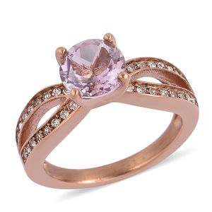 Rose De France Amethyst, White Austrian Crystal ION Plated RG Stainless Steel Ring (Size 9.0) TGW 1.32 cts.