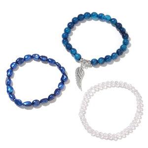 Set of 3 Blue Agate Enhanced, Multi Gemstone Black Oxidized Iron Bracelets (Stretchable) TGW 88.95 cts.