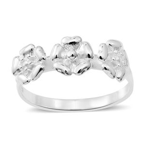 Sterling Silver Floral Trilogy Ring (Size 8.0)