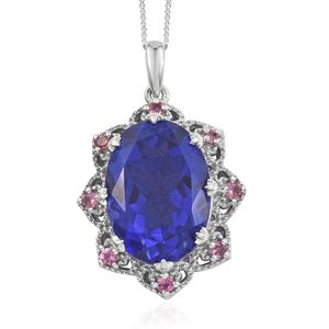 Playa Quartz, Morro Redondo Pink Tourmaline Platinum Over Sterling Silver Pendant With Chain (20 in) TGW 14.46 cts.
