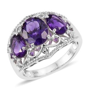 Lusaka Amethyst Platinum Over Sterling Silver Ring (Size 7.0) TGW 4.50 cts.