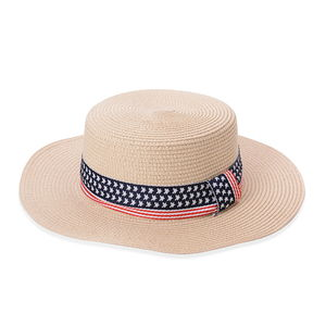 Ice Coffee 100% Straw Paper USA National Flag Pattern Panama Hat (21.66 in)