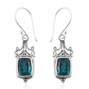 Bali Legacy Collection Paraiba Quartz Sterling Silver Earrings TGW 5.29 cts.