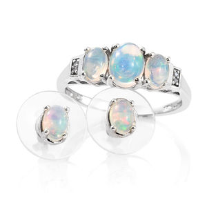 Ethiopian Welo Opal, Diamond Accent Platinum Over Sterling Silver Earrings and Ring (Size 10) TGW 2.03 cts.