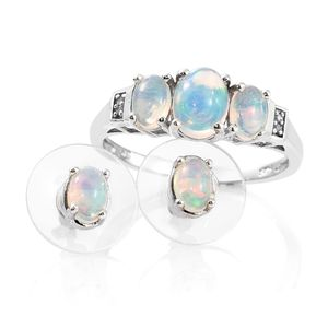 Ethiopian Welo Opal, Diamond Accent Platinum Over Sterling Silver Earrings and Ring (Size 7) TGW 2.03 cts.