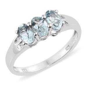 Espirito Santo Aquamarine, Diamond Platinum Over Sterling Silver Ring (Size 7.0) TDiaWt 0.05 cts, TGW 1.30 cts.