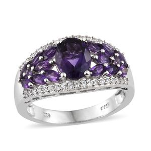 Dan's Collector Deal Uruguayan Amethyst, Multi Gemstone Platinum Over Sterling Silver Cluster Ring (Size 7.0) TGW 3.41 cts.