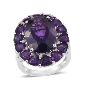 Lusaka Amethyst, Cambodian Zircon Platinum Over Sterling Silver Ring (Size 6.0) TGW 16.40 cts.