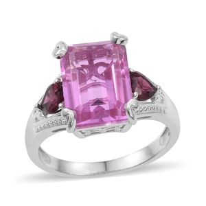 African Lilac Quartz, Orissa Rhodolite Garnet Platinum Over Sterling Silver Ring (Size 7.0) TGW 10.30 cts.