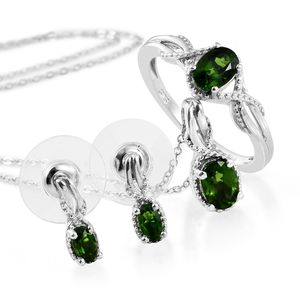 Dan's Collector Deal Russian Diopside Platinum Over Sterling Silver Earrings, Ring (Size 7) and Pendant With Chain (20 in) TGW 2.25 cts.