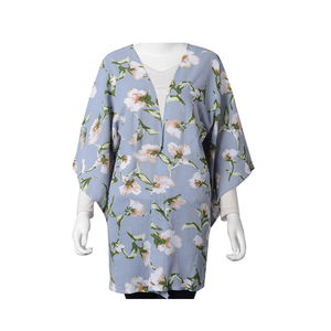 Blue with Green Leaf Flower Pattern 100% Polyester Japan Style Sleeve Summer Kimono (23.63x34.65 in)