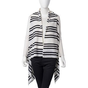 White with Black Stripe Pattern 100% Polyester Summer Kimono (35.44x56.7 in)