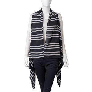 Black with White Stripe Pattern 100% Polyester Summer Kimono (35.44x56.7 in)