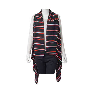 Black with Red and White Stripe Pattern 100% Polyester Summer Kimono (35.44x58.27 in)