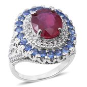 Niassa Ruby, Madagascar Blue Sapphire, Cambodian White Zircon Sterling Silver Cluster Cocktail Ring (Size 9.0) TGW 10.09 cts.