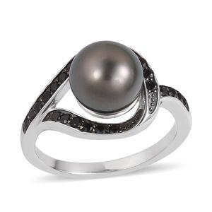 Tahitian Pearl (8-9 mm), Thai Black Spinel Black Rhodium & Sterling Silver Ring (Size 10.0) TGW 0.44 cts.