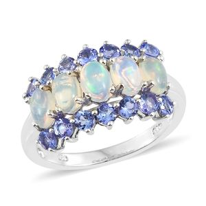 Ethiopian Welo Opal, Tanzanite Platinum Over Sterling Silver Ring (Size 8.0) TGW 2.65 cts.