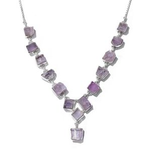 TLV Artisan Crafted Rough Cut Kunzite Sterling Silver Magic Ball Drop Necklace (20 in) TGW 76.60 cts.