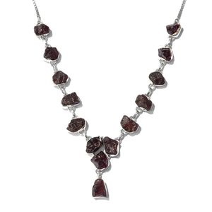 TLV Artisan Crafted Rough Cut Purple Garnet Sterling Silver Magic Ball Drop Necklace (20 in) TGW 59.24 cts.