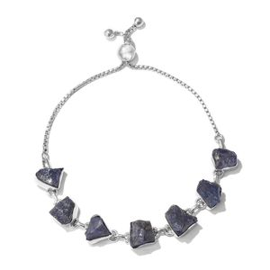 TLV Artisan Crafted Rough Cut Tanzanite Sterling Silver Magic Ball Station Bracelet (Adjustable) TGW 34.74 cts.