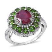 Niassa Ruby, Russian Diopside, Cambodian White Zircon Sterling Silver Ring (Size 9.0) TGW 7.16 cts.