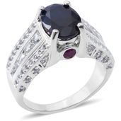 Madagascar Blue Sapphire, Ruby, White Topaz Sterling Silver Ring (Size 7.0) TGW 6.94 cts.