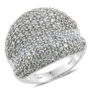 Cambodian Zircon Platinum Over Sterling Silver Cluster Concave Ring (Size 5.0) TGW 6.50 cts.