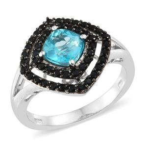 Paraiba Topaz, Thai Black Spinel Black Rhodium & Platinum Over Sterling Silver Ring (Size 7.0) TGW 2.55 cts.