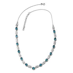 Paraiba Topaz Platinum Over Sterling Silver Necklace (18 in) TGW 11.500 Cts. TGW 11.50 Cts.