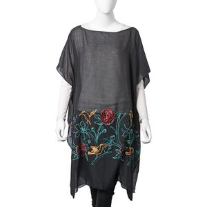 Black 100% Polyester Embroidered Floral & Bird Pattern Poncho (35.44x35.44 in)
