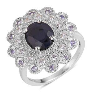 Masoala Sapphire, Multi Gemstone Sterling Silver Ring (Size 7.0) TGW 5.50 cts.