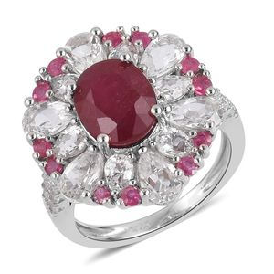 Niassa Ruby, White Topaz Sterling Silver Ring (Size 7.0) TGW 8.70 cts.