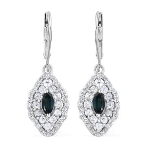 Monte Belo Indicolite, Cambodian Zircon Platinum Over Sterling Silver Lever Back Earrings TGW 1.76 cts.
