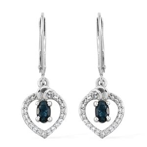 Monte Belo Indicolite, Cambodian Zircon Platinum Over Sterling Silver Lever Back Earrings TGW 0.74 cts.