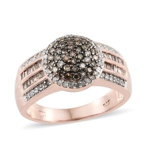 Natural Champagne Diamond, Diamond Black Rhodium & Vermeil RG Over Sterling Silver Ring (Size 8.0) TDiaWt 1.00 cts, TGW 1.00 cts.