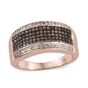 Natural Champagne Diamond, Diamond Black Rhodium & Vermeil RG Over Sterling Silver Ring (Size 7.0) TDiaWt 0.76 cts, TGW 0.76 cts.