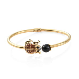 GP Thai Black Spinel, Multi Gemstone Vermeil YG Over Sterling Silver Frog Cuff (7.25 in) TGW 4.97 cts.
